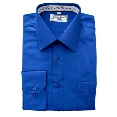 Boltini Italy Men's Collection Long Sleeve Dress Shirts Convertible Cuffs Royal
