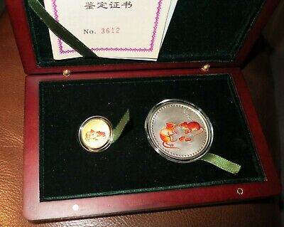 2008 China Year of the Rat Colorized 1/20 oz. Gold and 1/2 oz. Silver Coin Set
