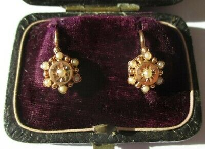 Boucles d'oreilles dormeuses anciennes perles - Or 18 carats French gold 750
