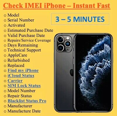 FAST PRO iPhone info Check IMEI /Simlock/Carrier/Find My Iphone/Blacklist Status