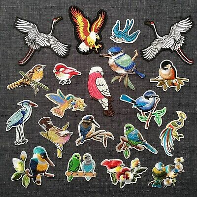 BIRDS Crane Eagle Kingfisher Budgie Toucan Bird 100% Embroidered Patch Iron-On