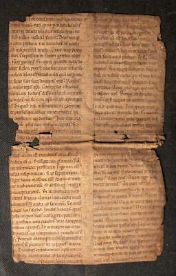 C12th Augustine manuscript leaf on parchment from 1170 France