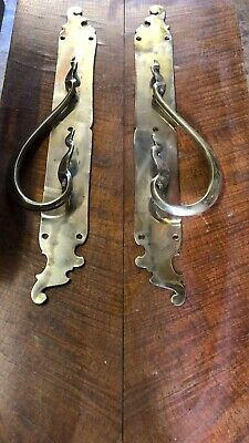 """Large Pair Of Polished Brass Pull Handles (24"""")"""