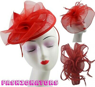 Red Flower Feather Fascinator Mesh Sinamay Curl Headpiece Ladies Day Ascot Races