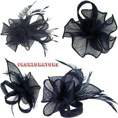 Navy Flower Feather Sinamay Fascinator Hair Clip Wedding Brooch Royal Ascot Race