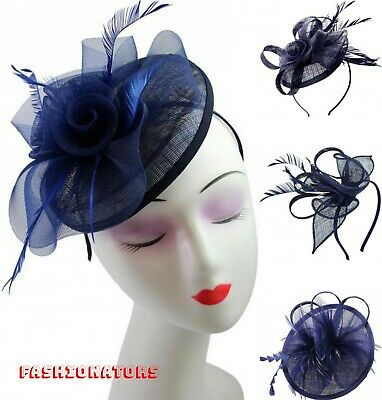 Navy Pillbox Clip Flower Feather Fascinator Wedding Ladies Day Royal Ascot Races