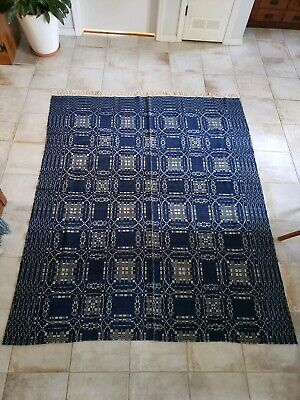 1800s Antique Hand Woven Overshot Weave Reversible Coverlet Blanket Blue And...