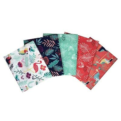Paradise Birds Fat Quarter Bundle. 5 Piece. 100% Cotton Fabric Jungle Fabric