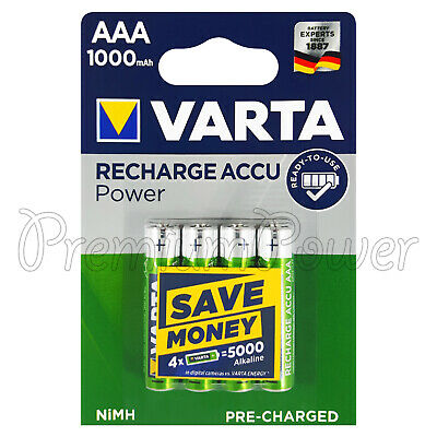 4 X Varta AAA 1000mAh Piles Rechargeable NI-MH 1.2V HR03 Micro Accu Puissance