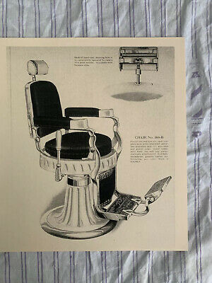 1920's Vintage Hercules #560 B Hydraulic Reclining Barber Chair Sign Ad