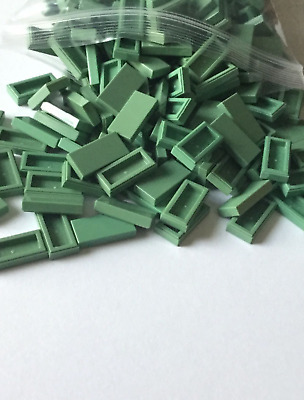 Lego 50 New Sand Green Tiles 1 x 3 Flat Smooth Pieces