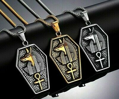 Anubis Anpu Ancient Egyptian Ankh Stainless Steel Women Men Pendant Necklace