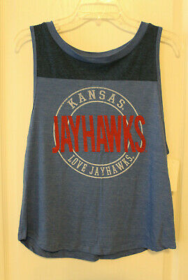 Royal//Red Old Varsity Brand NCAA Kansas Jayhawks Mens Contrast Stitch Tee Small