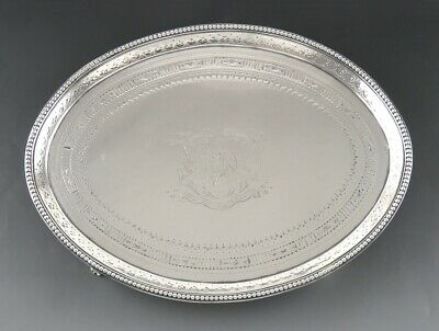 Antique c1780 English Sterling Silver Card Tray Salver 18th Century