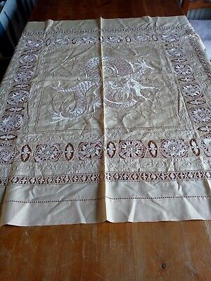 """Antique 1910s 1920s Chinese Manila Silk Hand-Embroidered dragon tablecloth 34"""""""