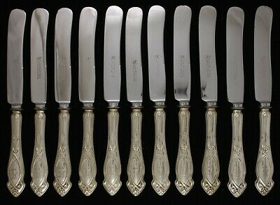 12 Quality German 800 Silver Art Nouveau Knives