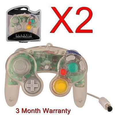 2X Controller For Nintendo Gamecube Gc & Wii Clear New