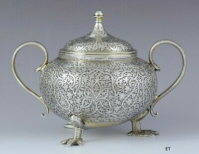 1800s Exquisite Indian Silver Hand Engraved Double Handle Sugar Bowl