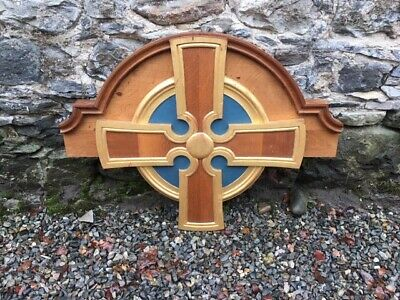 Vintage Carved Church Cross  / Ecclesiastical Wall Panel