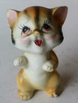 Cat-Kitten Figurine Brown Stripped Mouth Open Ceramic-Porcelain Hand Painted-VTG
