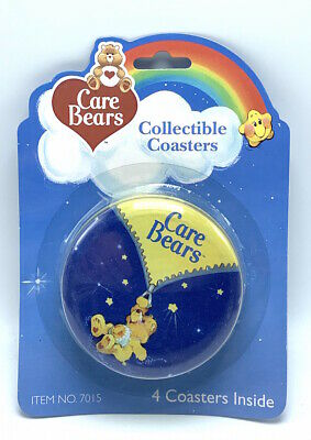 Set of 4 Care Bears Collectible Coasters in Tin Case Wish Grumpy Love a Lot Bear