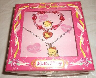 NEW SANRIO HELLO KITTY 2008 Necklace/bracelet/earrings + Jewelry Box pink set