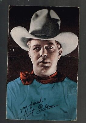 1950s Arcade Exhibit Card HOOT GIBSON Made in USA w/ SIGNATURE
