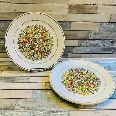 "Corelle Corning Ware ""INDIAN SUMMER"" Orange Flower Dinner Plates 10 1/4"" (4PC)"