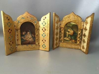Vtg Italian Florentine Gold Gilt Tole Wood Madonna & Child Jesus Triptych Plaque