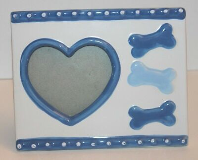 Pet Photo Frame Dog Bones Heart Blue White Ceramic Picture Puppy