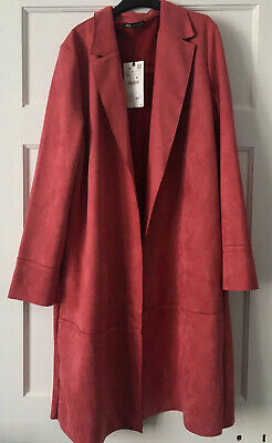 BNWT Zara Pink Faux Suede Coat XL Colour More Like Second Photo Onwards