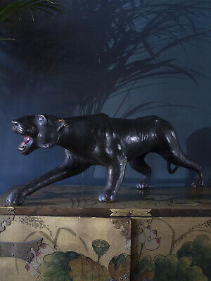 Early 20th Century Carved and Leather Panther Omersa for Liberty