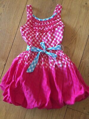 Cakewalk By Oilily Girls Designer Checked Gingham Puffball Dress Red Blue 5-6 Y