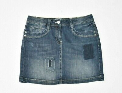 Girls Kids S.OLIVER Straight Distressed Blue Denim Jeans Skirt 9-10years W27 in