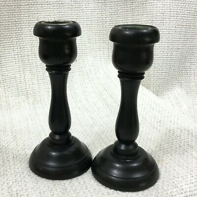 Antique Victorian Candlesticks Wooden REAL EBONY Wood Turned Pair Treen