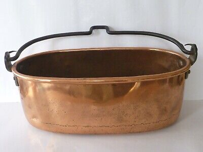 Wrought Iron Handled Copper Fish Kettle Pan - Plant Planter Pot - Large