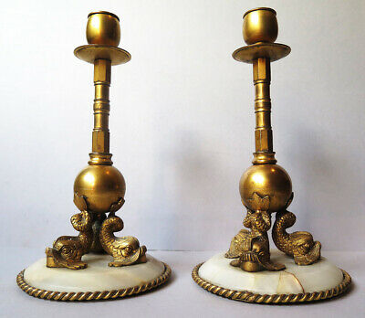 A Quality Pair Of Antique Gilt Brass Dolphin Candlestick On Marble/Onyx Bases