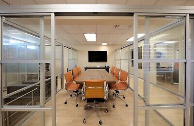 Custom Aluminum & Glass Conference Room Divider Partition