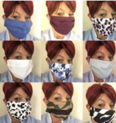 Face Mask Covering Cotton Virus Washable  Homemade Non Surgical Fabric UK SELLER