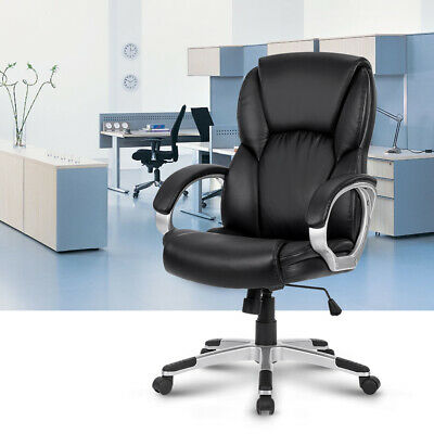 Executive Racing Gaming Chair Computer Office PU Swivel High Back Adjustable BLK