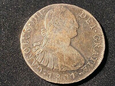 T2: Colonial Peru. 1801 Silver 8 Reales