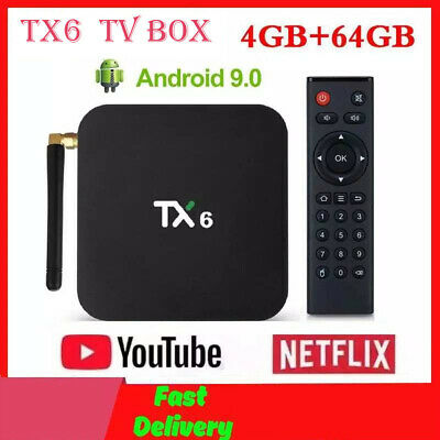 TX6 Quad Core 4GB+64GB Android 9.0 TV Box 2.4Ghz WIFI HD Media Player