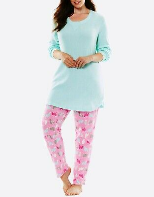 Dreams & Co. Plus Size Orchid Bloom Llamas Thermal Pajama Set Size 2X(26/28)