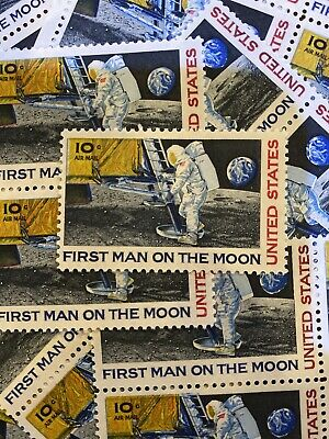 4 Vintage First Man On The Moon Stamps-Apollo 11-Never Used...post Office Fresh