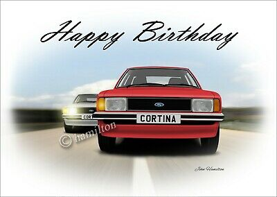 Ford Cortina Mk4 1600 GL 2000 Ghia Classic car  Birthday Greetings Card Chase