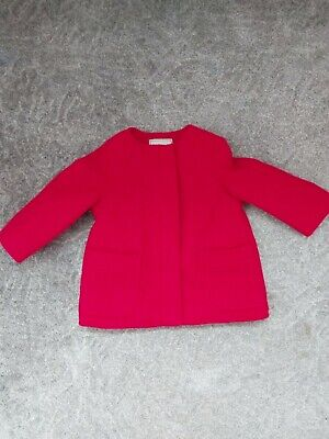 NEXT Girls 9-12 Month Red Coat Jacket With Warm Fleece Lining In Excellent...
