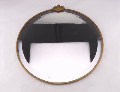 Antique 1910s Metal Mirror with Gold Tone Accents - Circular Bevelled Edge