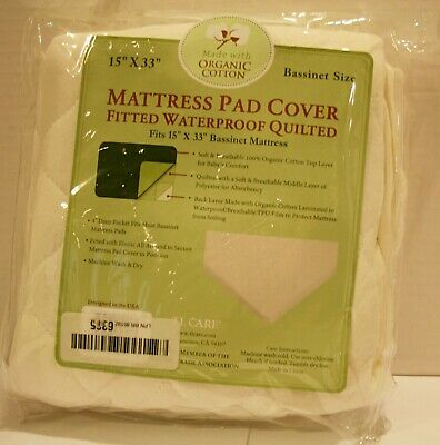 TL Care Organic Cotton Waterproof Fitted Bassinet Quilted Mattress Pad Cover