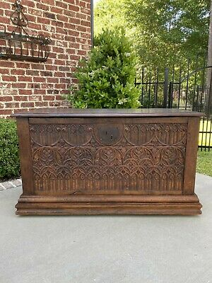 Antique French GOTHIC Coffer Chest Blanket Box Entry Table Trunk Oak 18th C