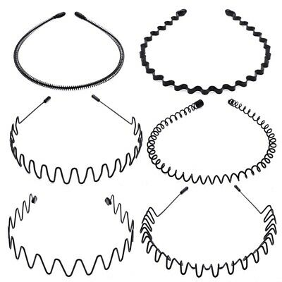 Metal Sports Hairband Headband Wave Alice Style Unisex Invisible Hair Band Lot)